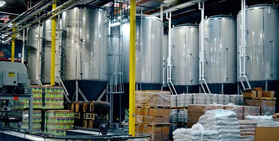 Fermenters inside brewery
