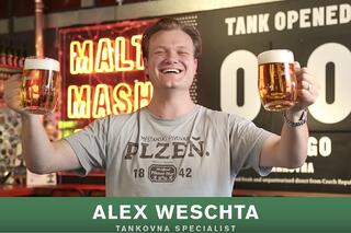 Alex Weschta with fresh beers from a serving beer tank