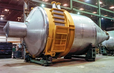 industrial dust cyclone separator in the fabrication shop