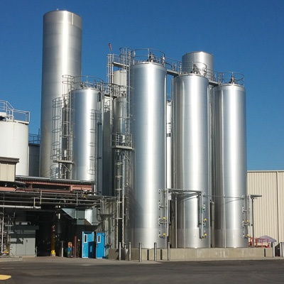 Stainless steel dairy silos
