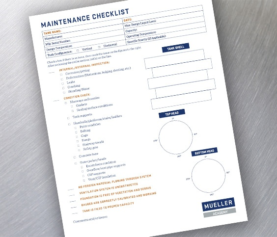 Tank maintenance checklist