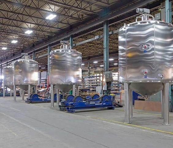 Food grade finish on stainless steel tanks