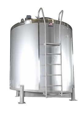Sloped bottom custom food storage tank