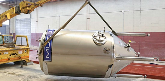 Vessel being moved inside plant